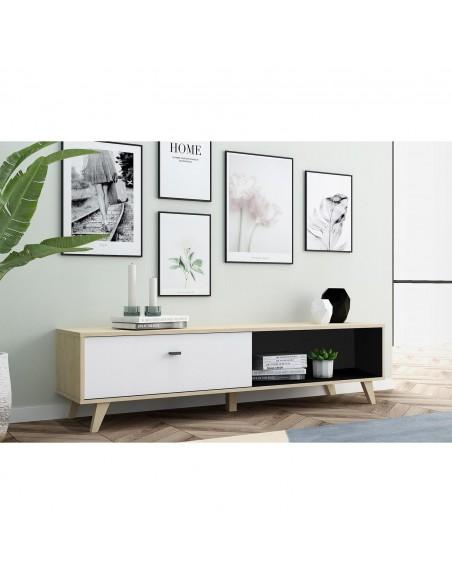 Meuble TV Caroline en bois clair et blanc