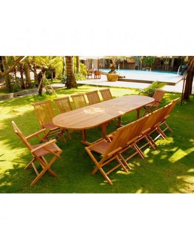Kajang Salon De Jardin Teck Brut 12 14 Pers Table Ovale 90 Cm 10 Chaises 2 Fauteuils
