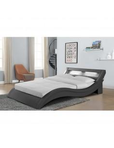 Lit Cloé simili-cuir gris avec LED - 160 x 200