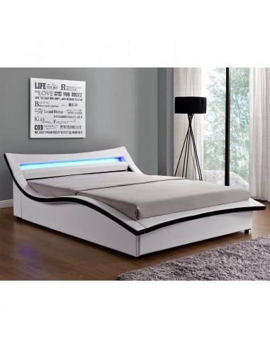 Lit Aude simili-cuir blanc avec LED -...