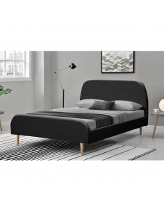 Lit Aurore noir avec pieds en bois 140x190
