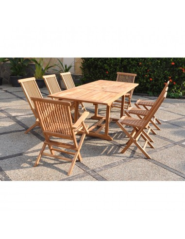 Kajang Salon De Jardin Teck Massif 8 Personnes Table Rectangulaire 6 Chaises 2 Fauteuils