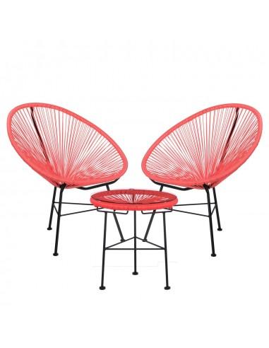 2 Chaises tressées et table design Lycos